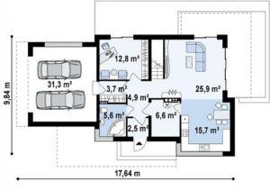7e7b9ace5c9f7dc76d8a60022dd57f41 300x211 - Проект дома №15