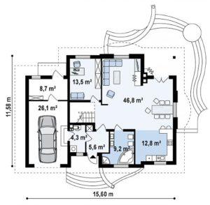 filesz500 res rzuty z18 z18 gl bk rzut1 png 300x294 - Проект дома №13