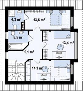 filesz500 res rzuty z47 z47 rzut2 png 271x300 - Проект дома №17